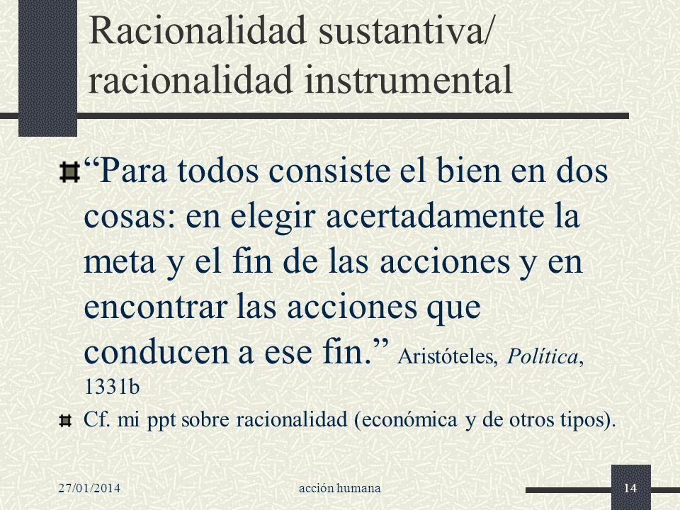 Racionalidad sustantiva/ racionalidad instrumental