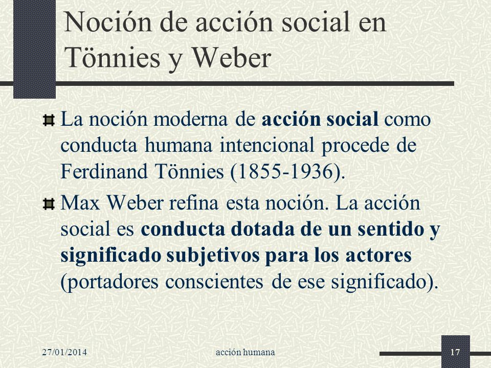 Noción de acción social en Tönnies y Weber