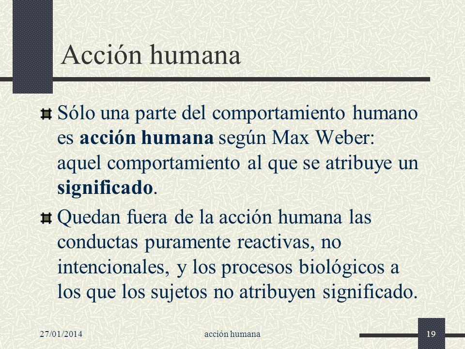 Acción humana Sólo una parte del comportamiento humano es acción humana según Max Weber: aquel comportamiento al que se atribuye un significado.