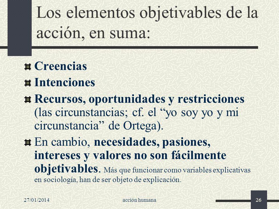 Los elementos objetivables de la acción, en suma: