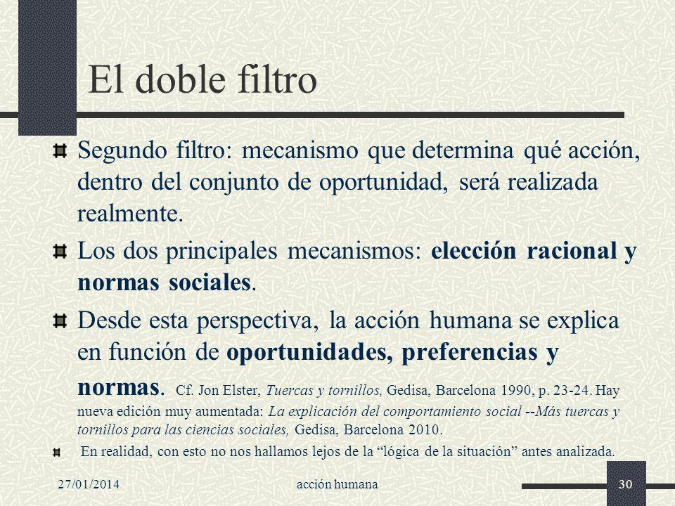El doble filtro Segundo filtro: mecanismo que determina qué acción, dentro del conjunto de oportunidad, será realizada realmente.