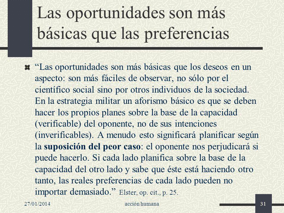 Las oportunidades son más básicas que las preferencias