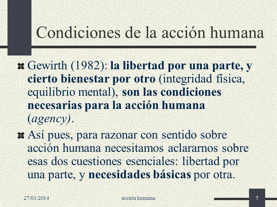 Condiciones de la acción humana
