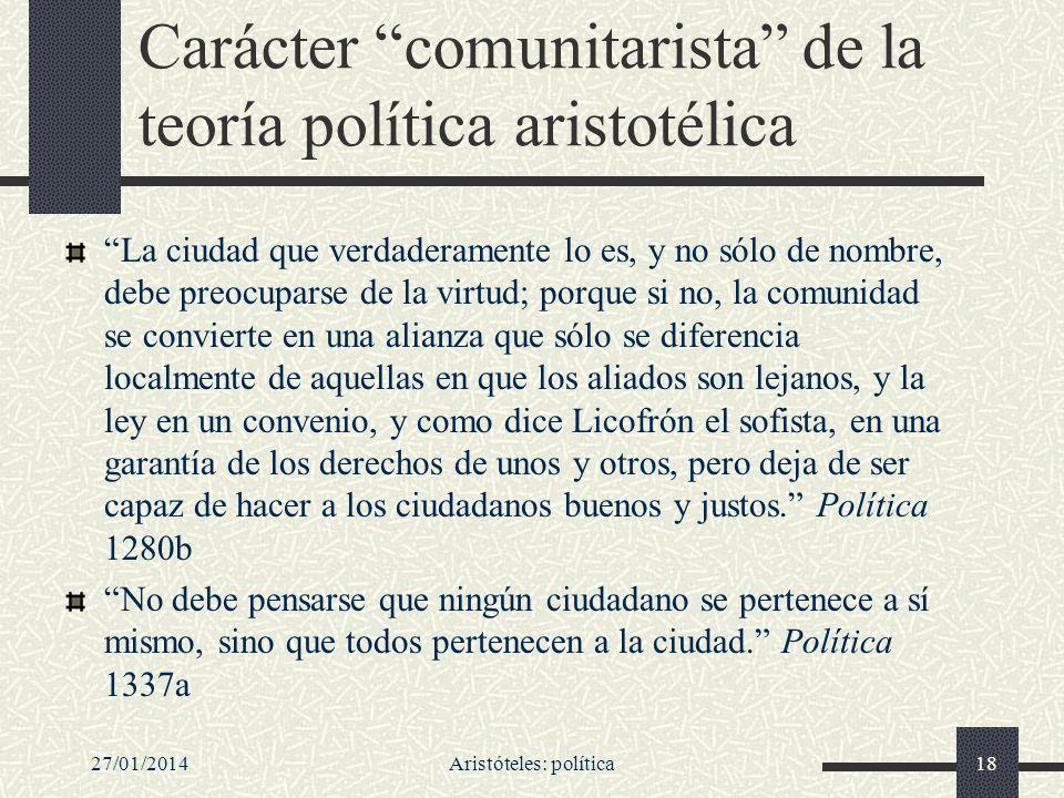Carácter comunitarista de la teoría política aristotélica