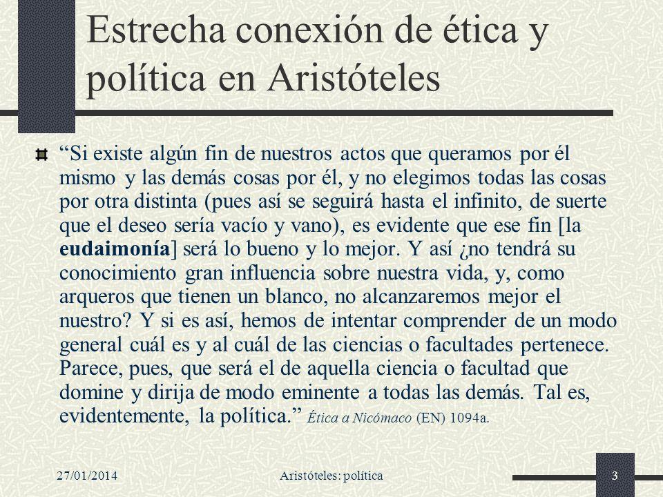 Estrecha conexión de ética y política en Aristóteles