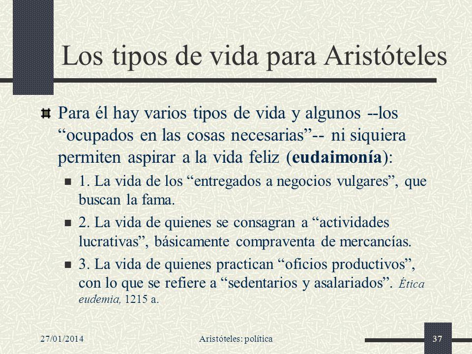 Los tipos de vida para Aristóteles