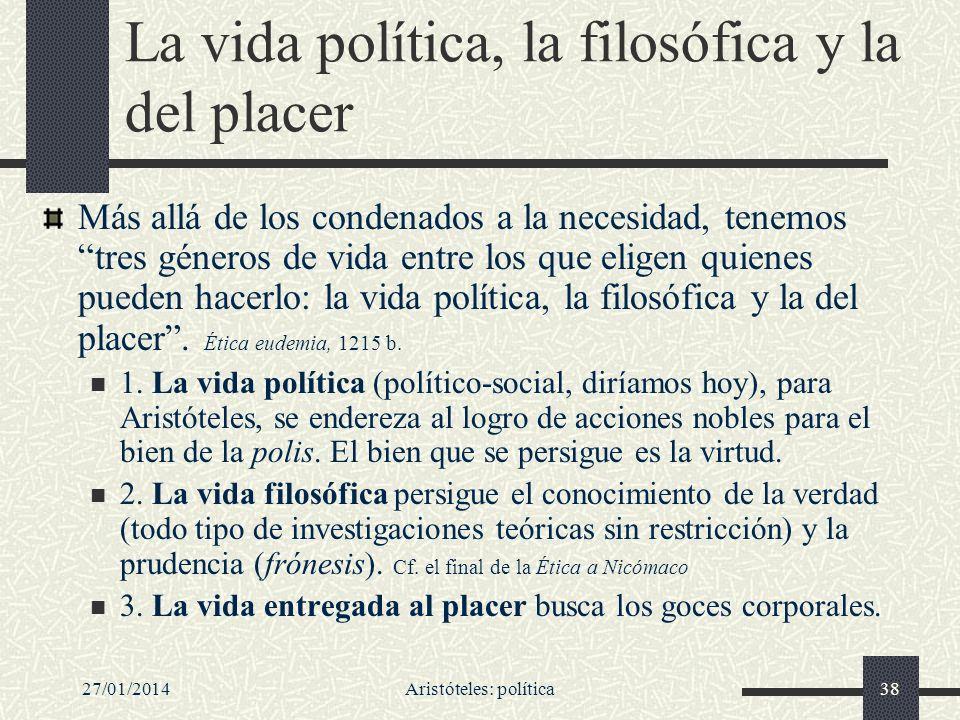 La vida política, la filosófica y la del placer