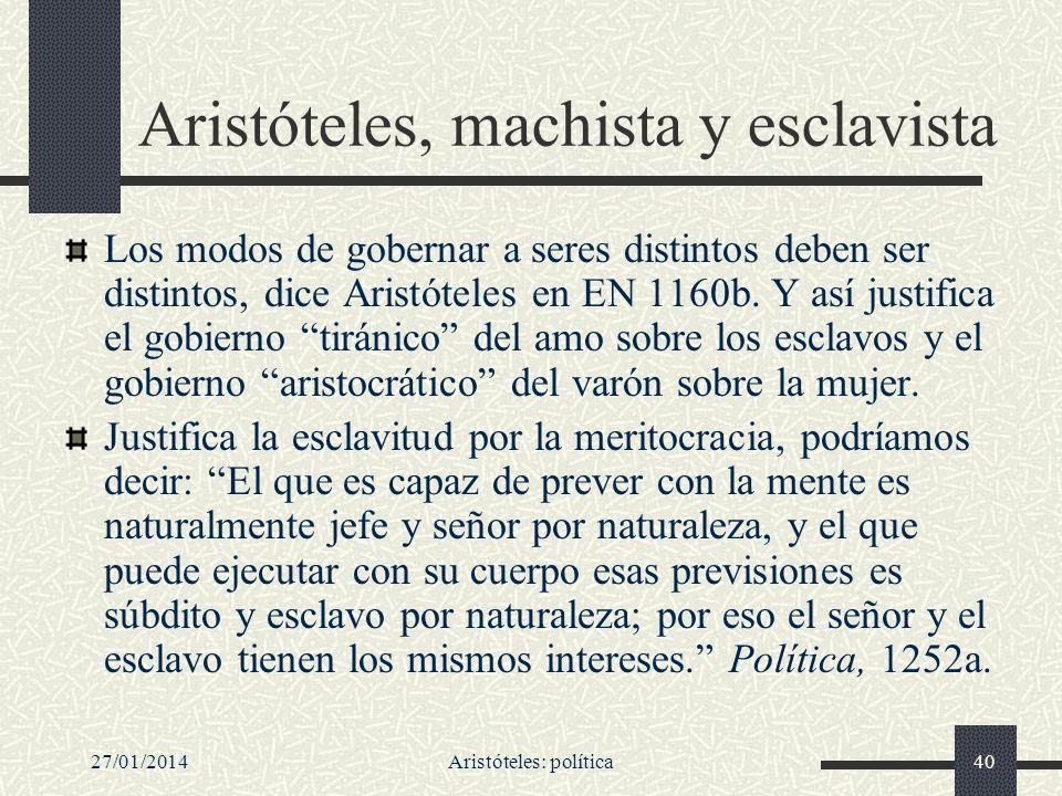Aristóteles, machista y esclavista