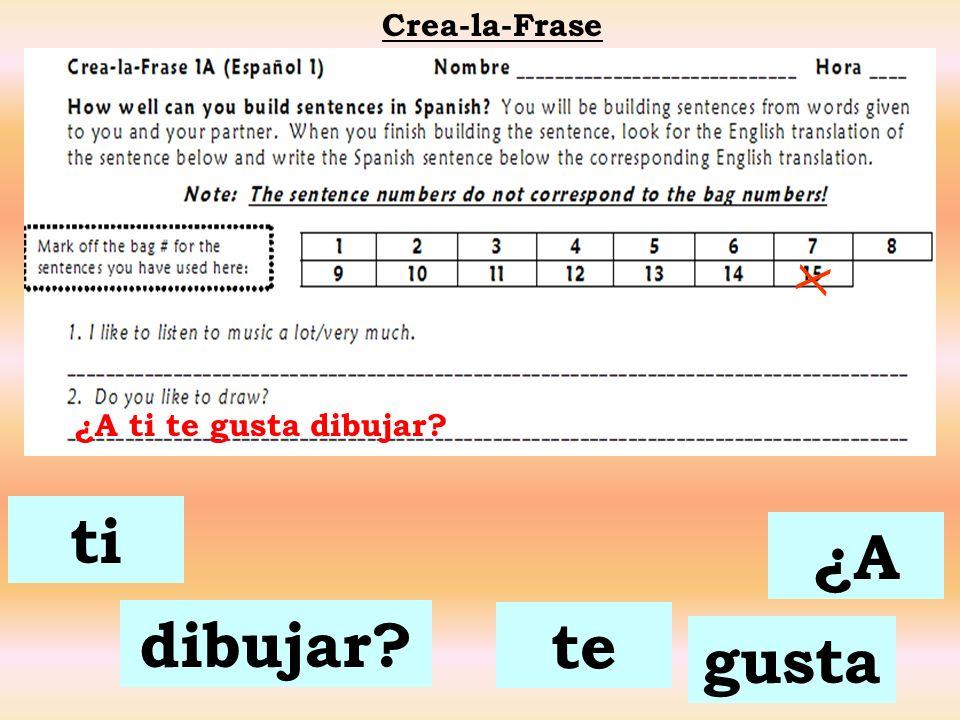 Crea-la-Frase X ¿A ti te gusta dibujar ti ¿A dibujar te gusta