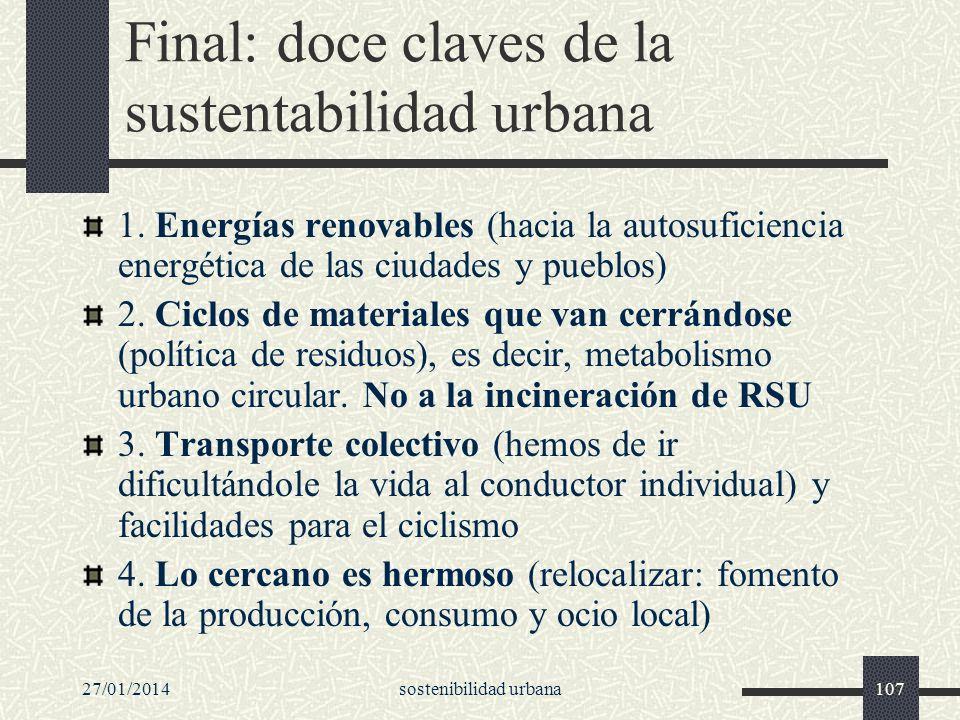 Final: doce claves de la sustentabilidad urbana