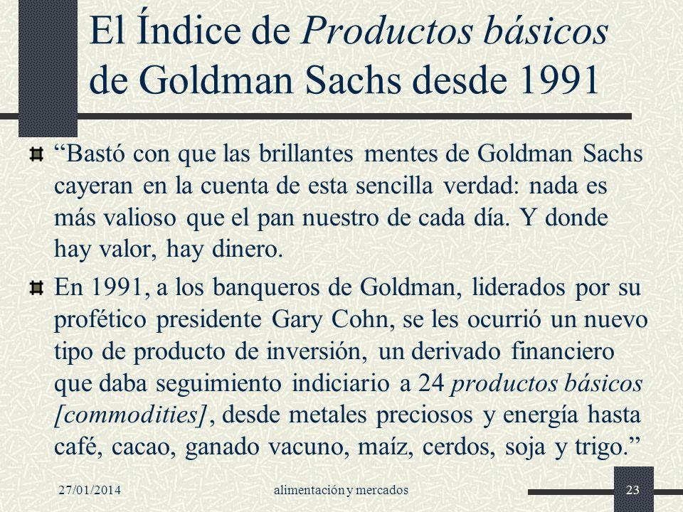 El Índice de Productos básicos de Goldman Sachs desde 1991
