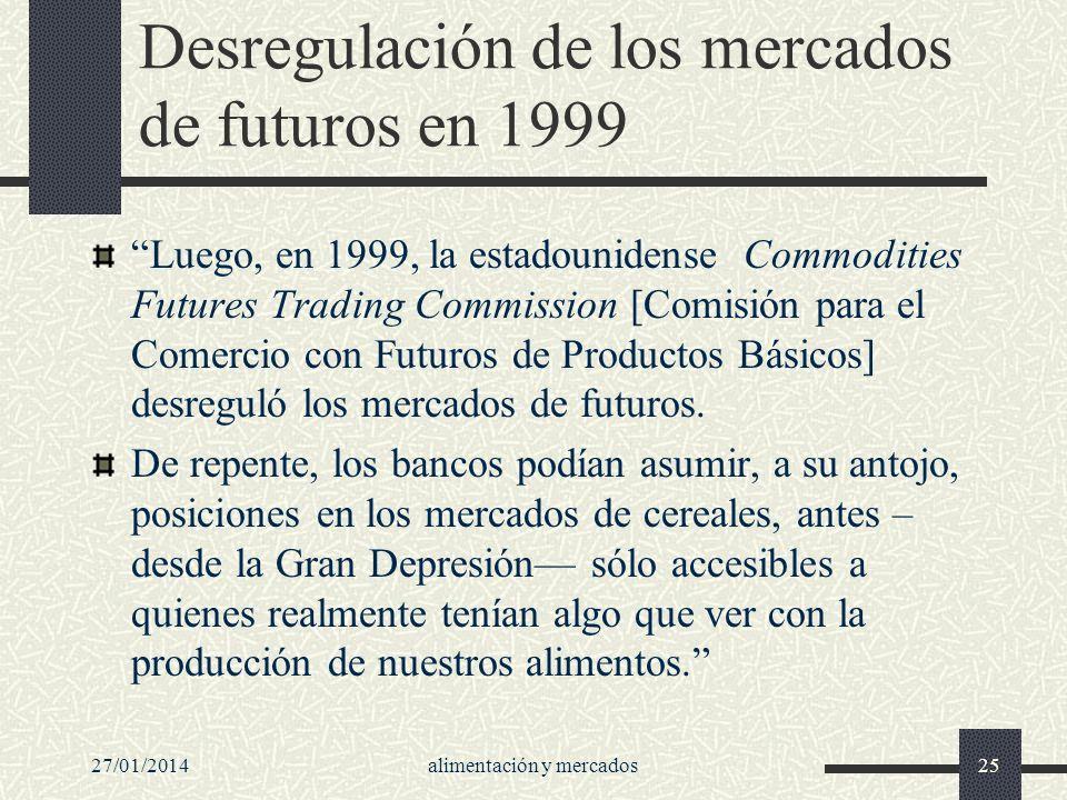 Desregulación de los mercados de futuros en 1999