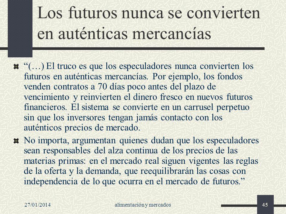 Los futuros nunca se convierten en auténticas mercancías