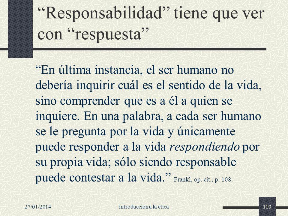 Responsabilidad tiene que ver con respuesta
