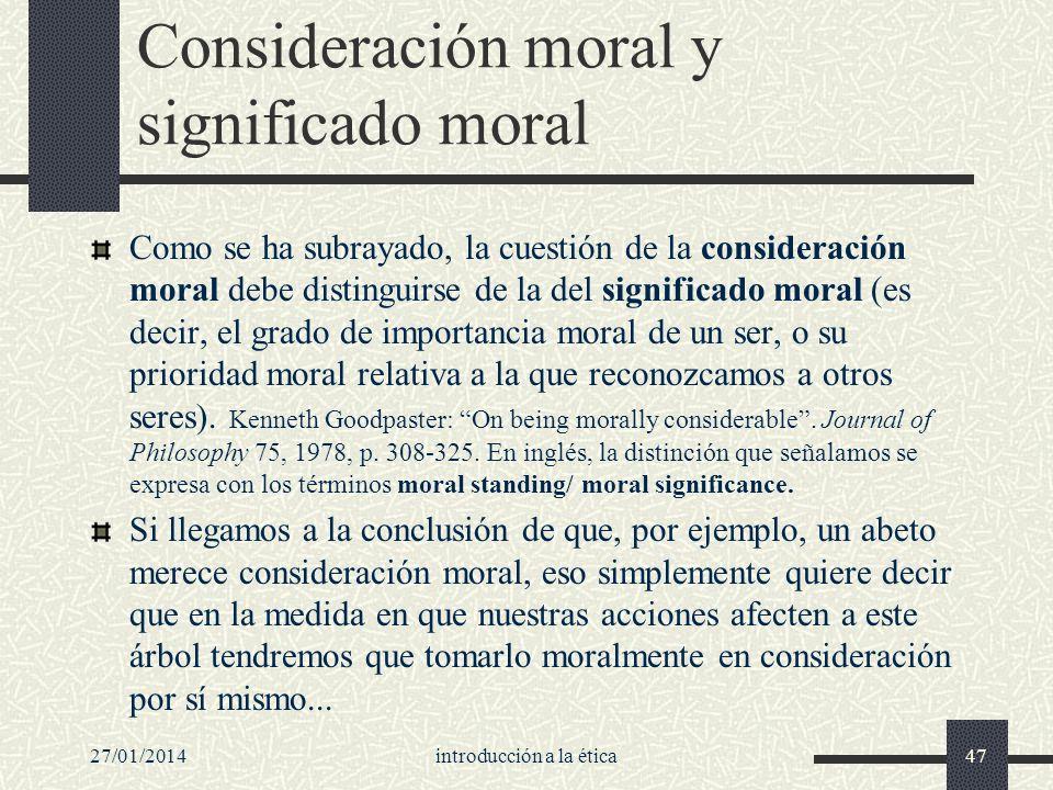 Consideración moral y significado moral