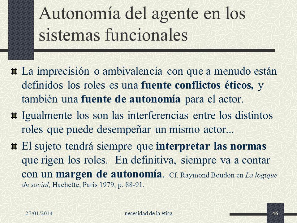 Autonomía del agente en los sistemas funcionales