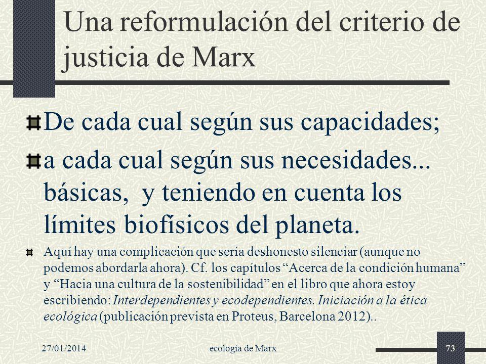 Una reformulación del criterio de justicia de Marx