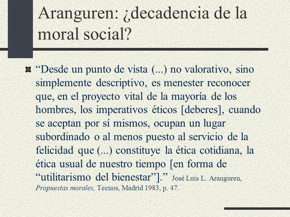 Aranguren: ¿decadencia de la moral social