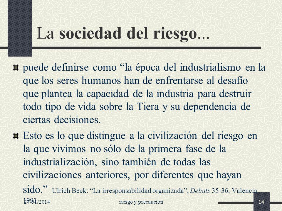 La sociedad del riesgo...