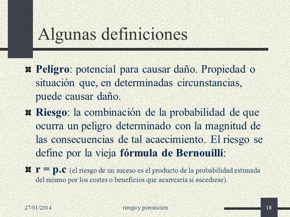 Algunas definicionesPeligro: potencial para causar daño. Propiedad o situación que, en determinadas circunstancias, puede causar daño.
