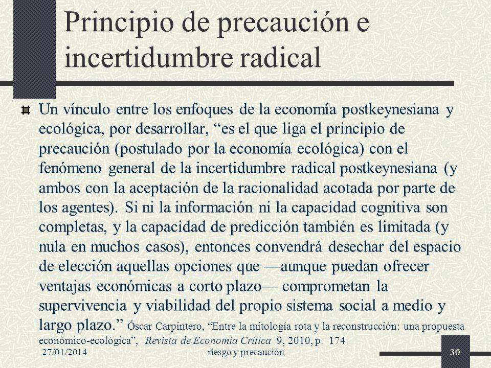 Principio de precaución e incertidumbre radical