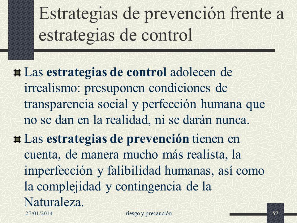 Estrategias de prevención frente a estrategias de control