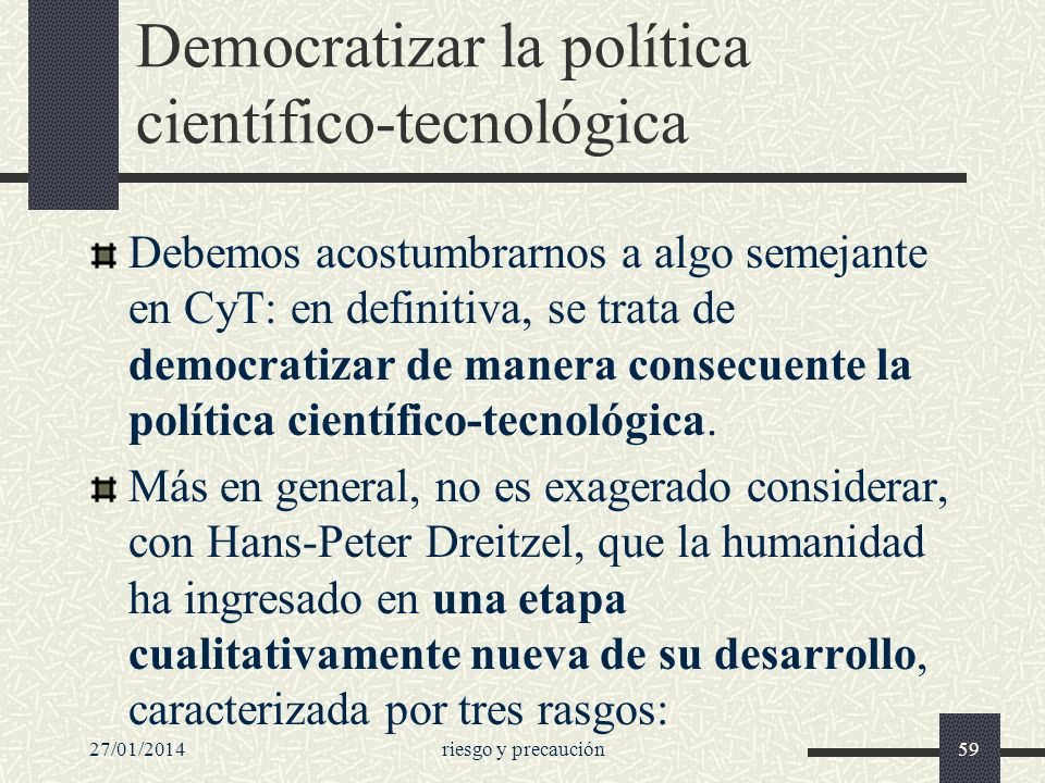 Democratizar la política científico-tecnológica