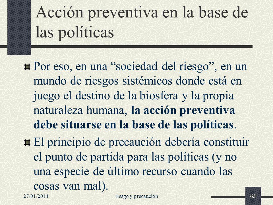 Acción preventiva en la base de las políticas