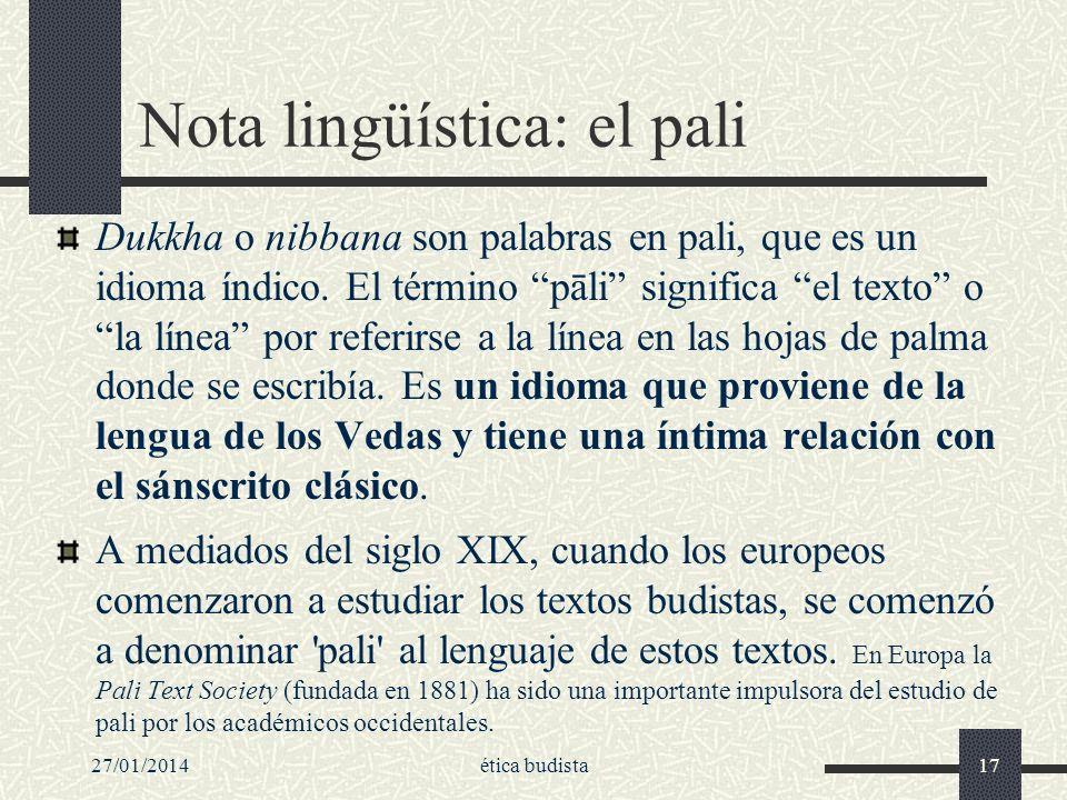 Nota lingüística: el pali