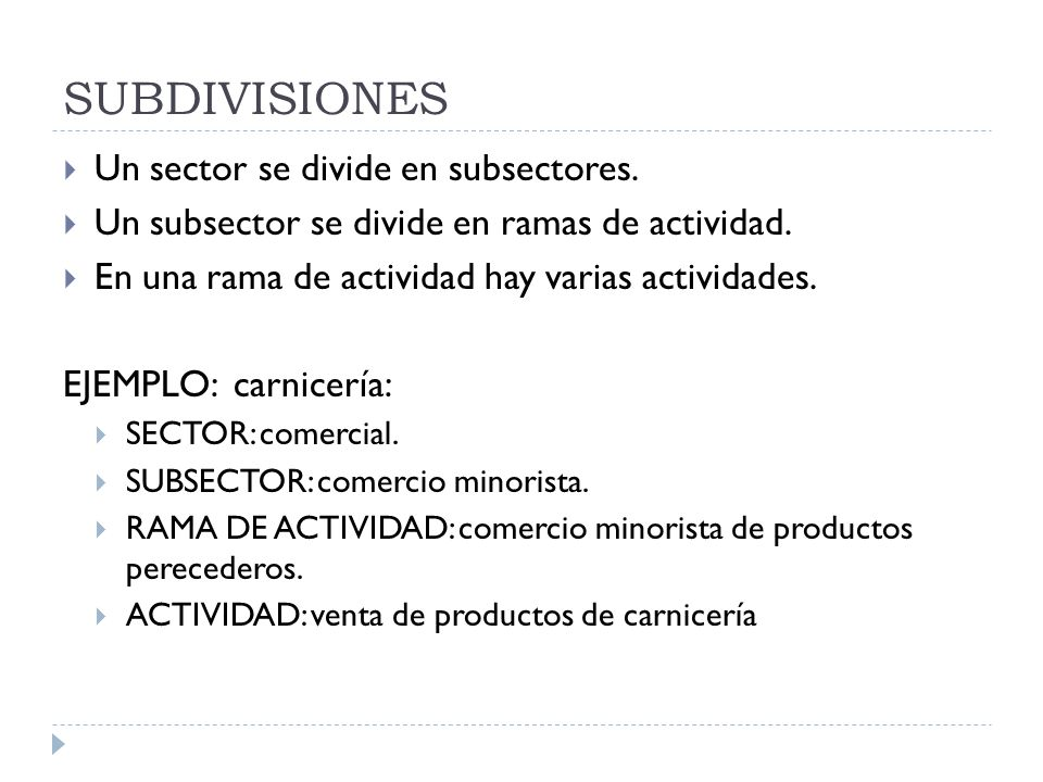 SUBDIVISIONES Un sector se divide en subsectores.