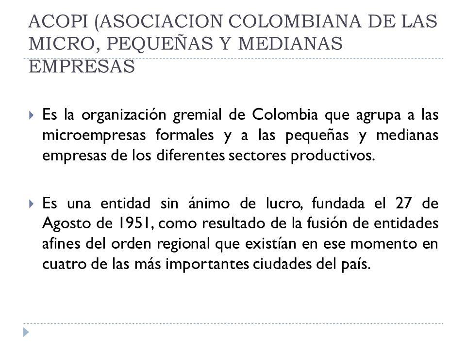 ACOPI (ASOCIACION COLOMBIANA DE LAS MICRO, PEQUEÑAS Y MEDIANAS EMPRESAS