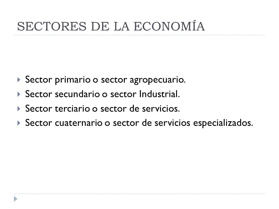 SECTORES DE LA ECONOMÍA