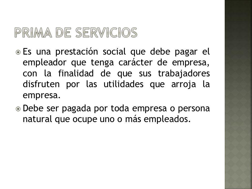 PRIMA DE SERVICIOS