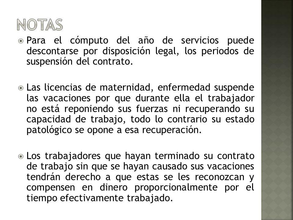 NOTASPara el cómputo del año de servicios puede descontarse por disposición legal, los periodos de suspensión del contrato.