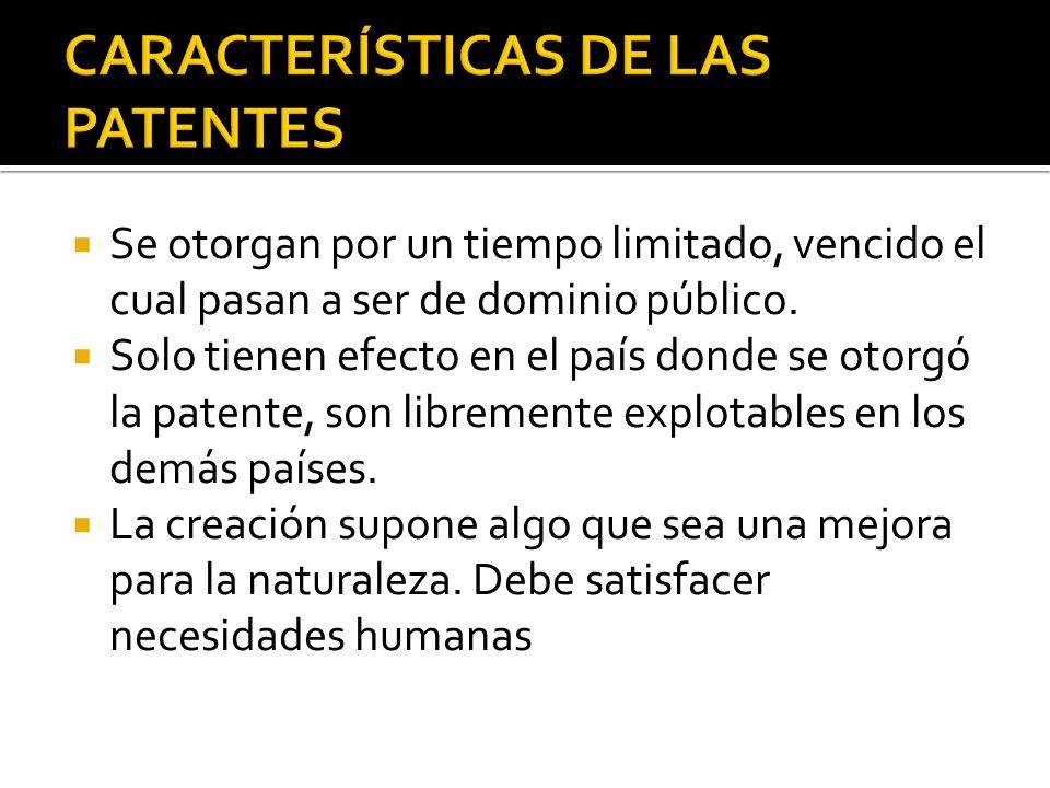 CARACTERÍSTICAS DE LAS PATENTES