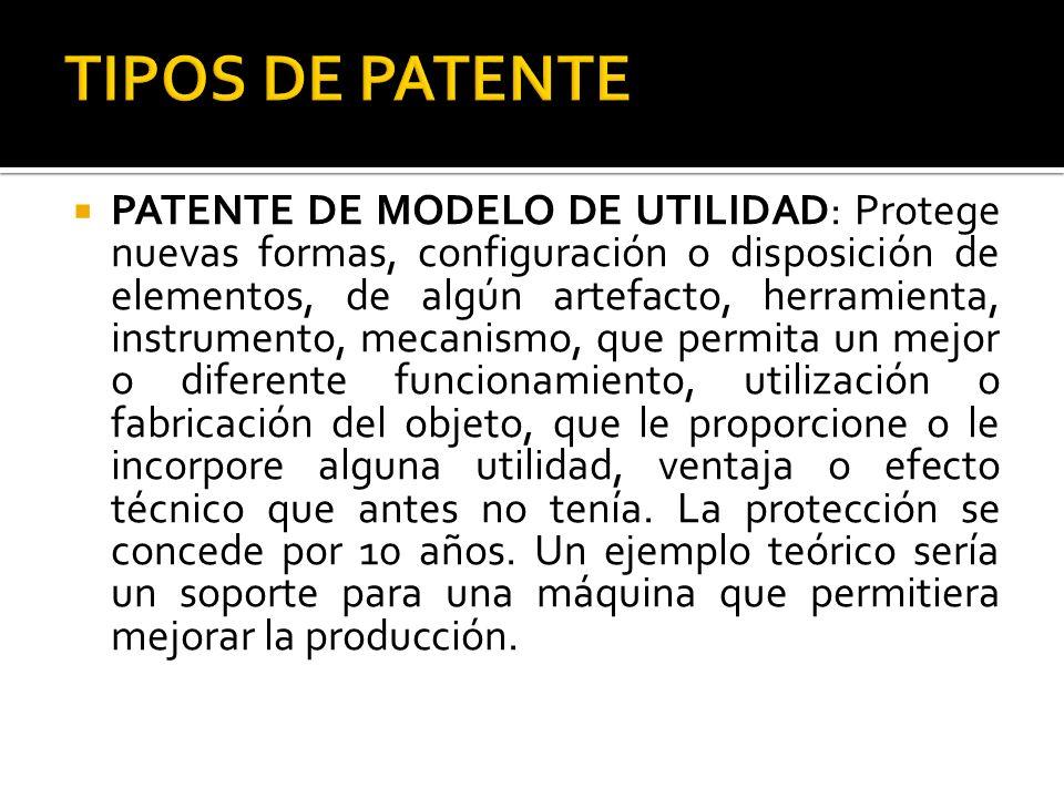 TIPOS DE PATENTE