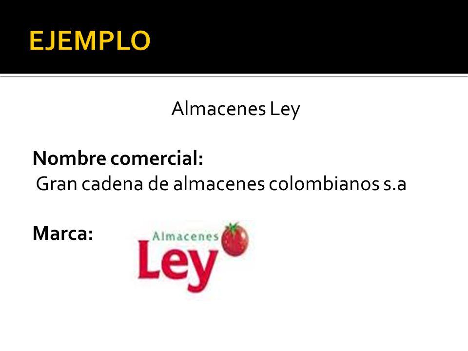 EJEMPLO Almacenes Ley Nombre comercial: Gran cadena de almacenes colombianos s.a Marca:
