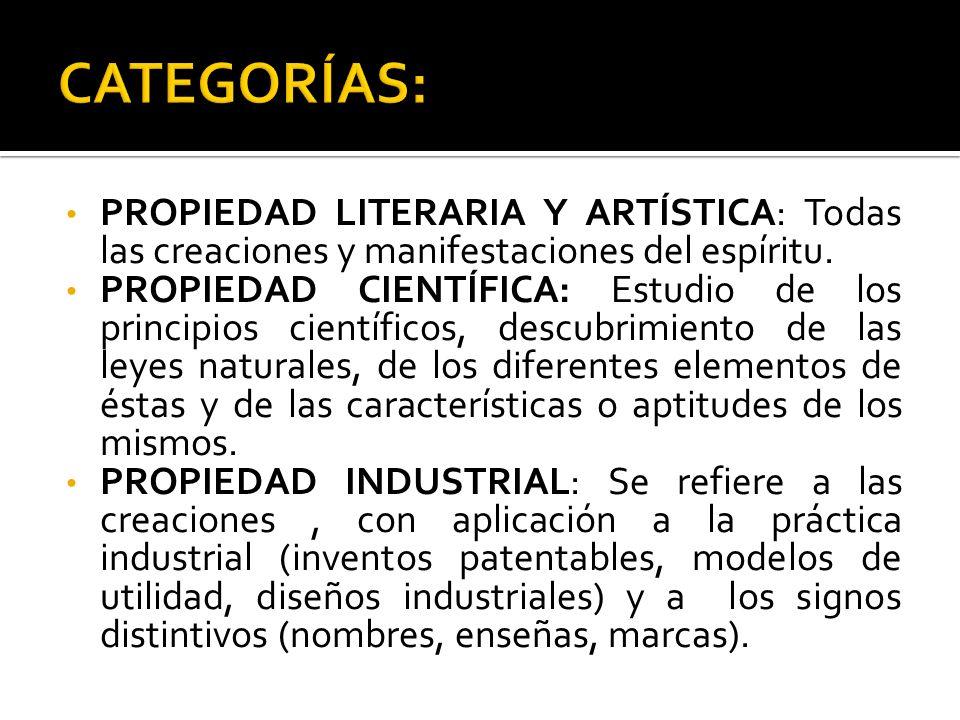 CATEGORÍAS: PROPIEDAD LITERARIA Y ARTÍSTICA: Todas las creaciones y manifestaciones del espíritu.