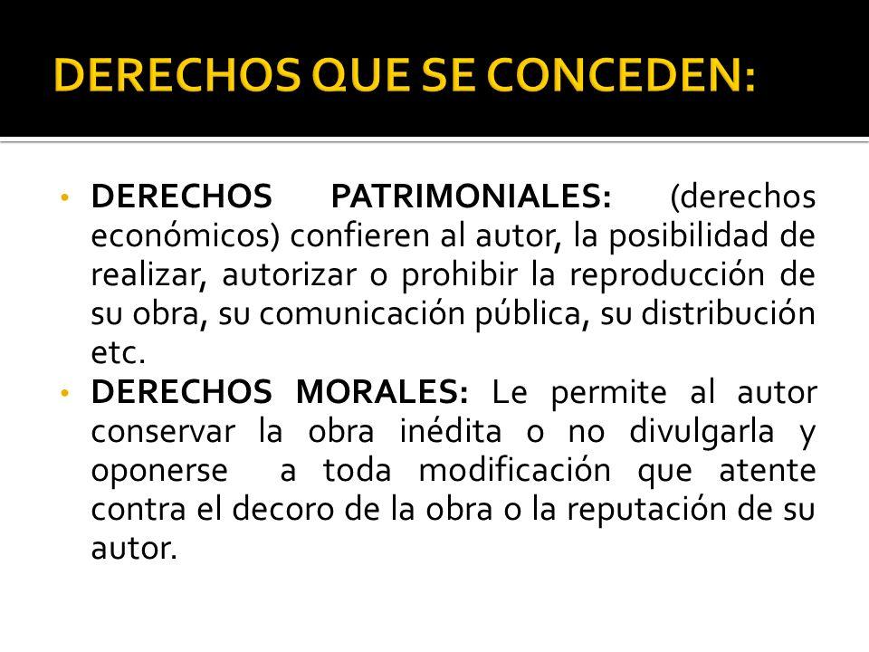 DERECHOS QUE SE CONCEDEN: