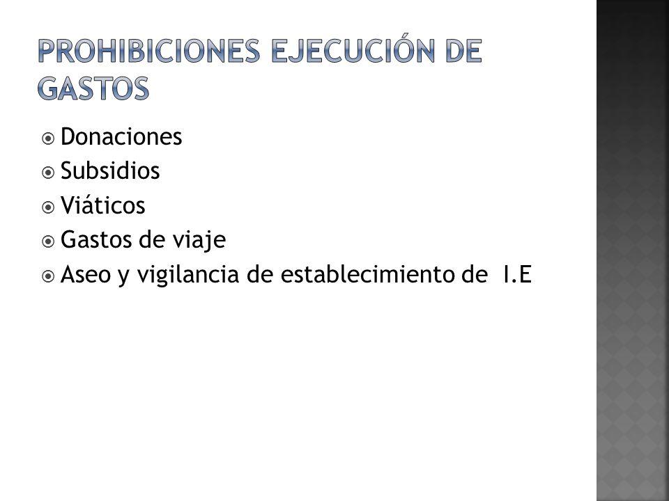 Prohibiciones ejecución de gastos