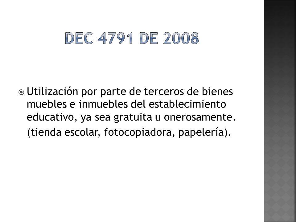 Dec 4791 de 2008 Utilización por parte de terceros de bienes muebles e inmuebles del establecimiento educativo, ya sea gratuita u onerosamente.