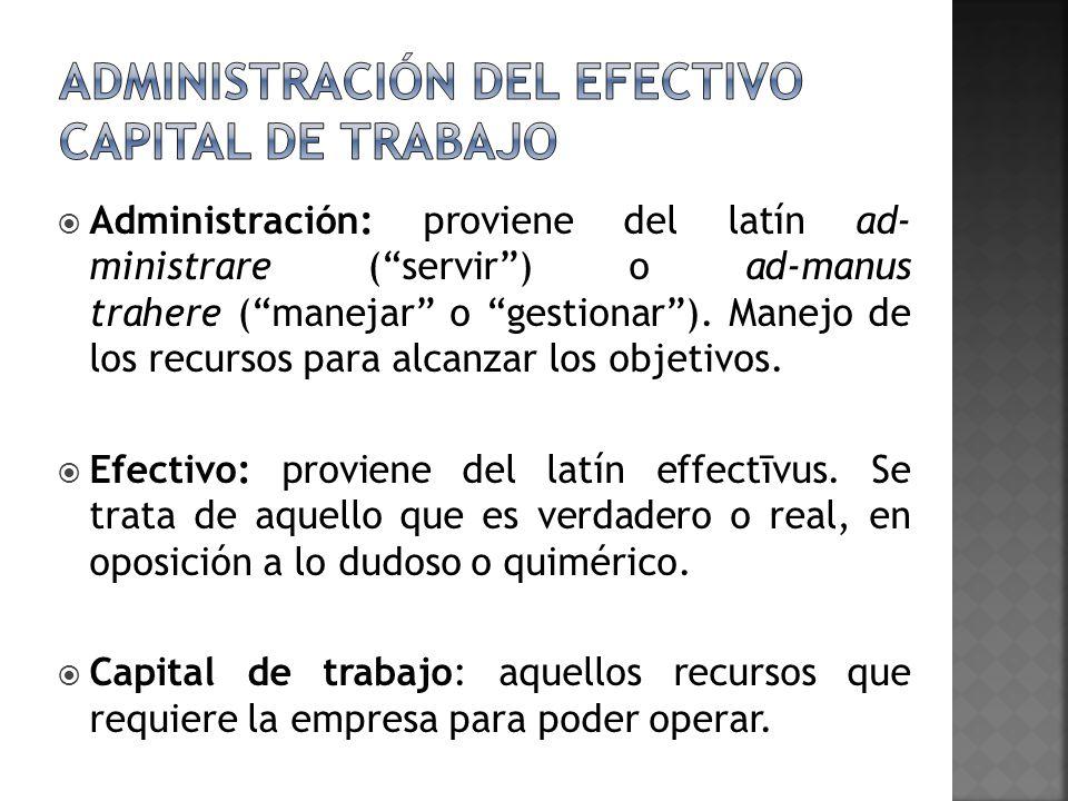 Administración del efectivo capital de trabajo