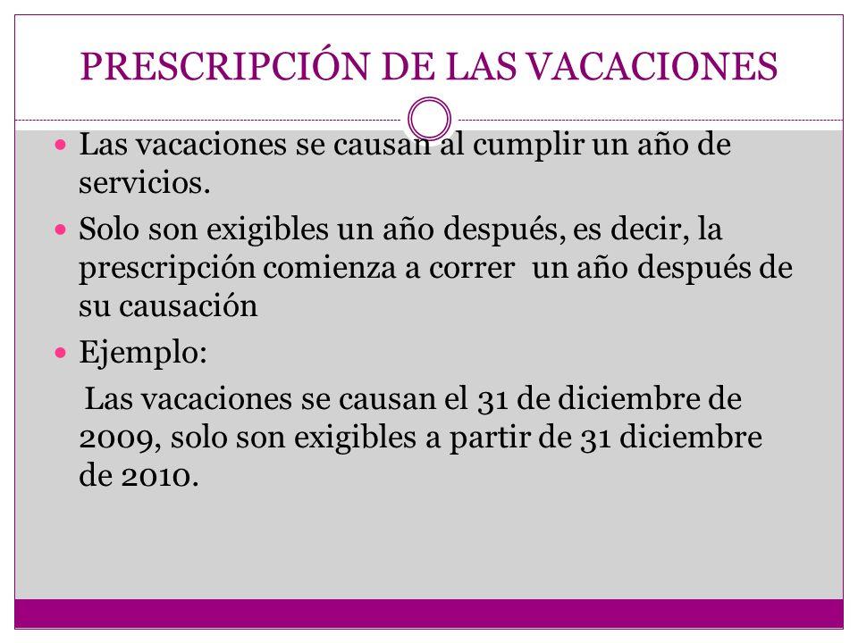 PRESCRIPCIÓN DE LAS VACACIONES