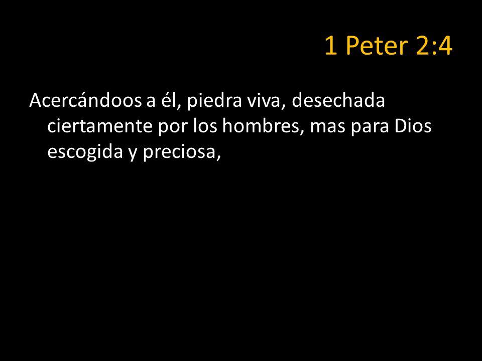 1 Peter 2:4 Acercándoos a él, piedra viva, desechada ciertamente por los hombres, mas para Dios escogida y preciosa,