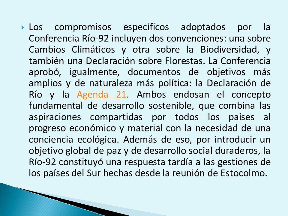 Los compromisos específicos adoptados por la Conferencia Río-92 incluyen dos convenciones: una sobre Cambios Climáticos y otra sobre la Biodiversidad, y también una Declaración sobre Florestas.