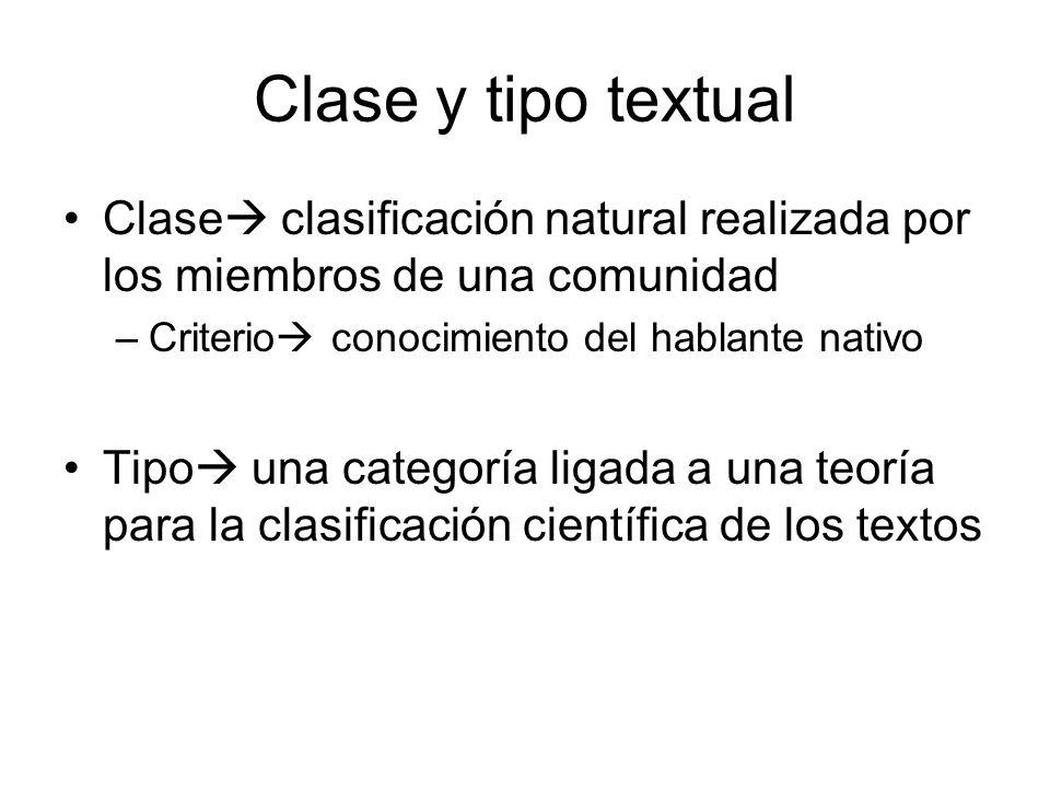Clase y tipo textual Clase clasificación natural realizada por los miembros de una comunidad. Criterio conocimiento del hablante nativo.