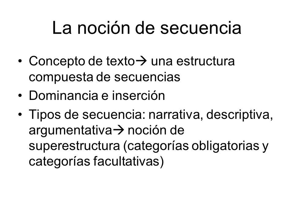 La noción de secuencia Concepto de texto una estructura compuesta de secuencias. Dominancia e inserción.