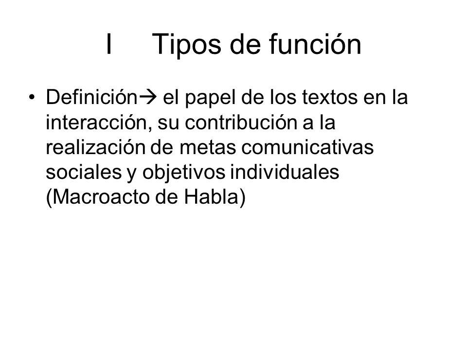 I Tipos de función
