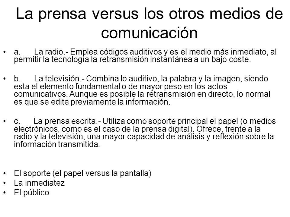 La prensa versus los otros medios de comunicación