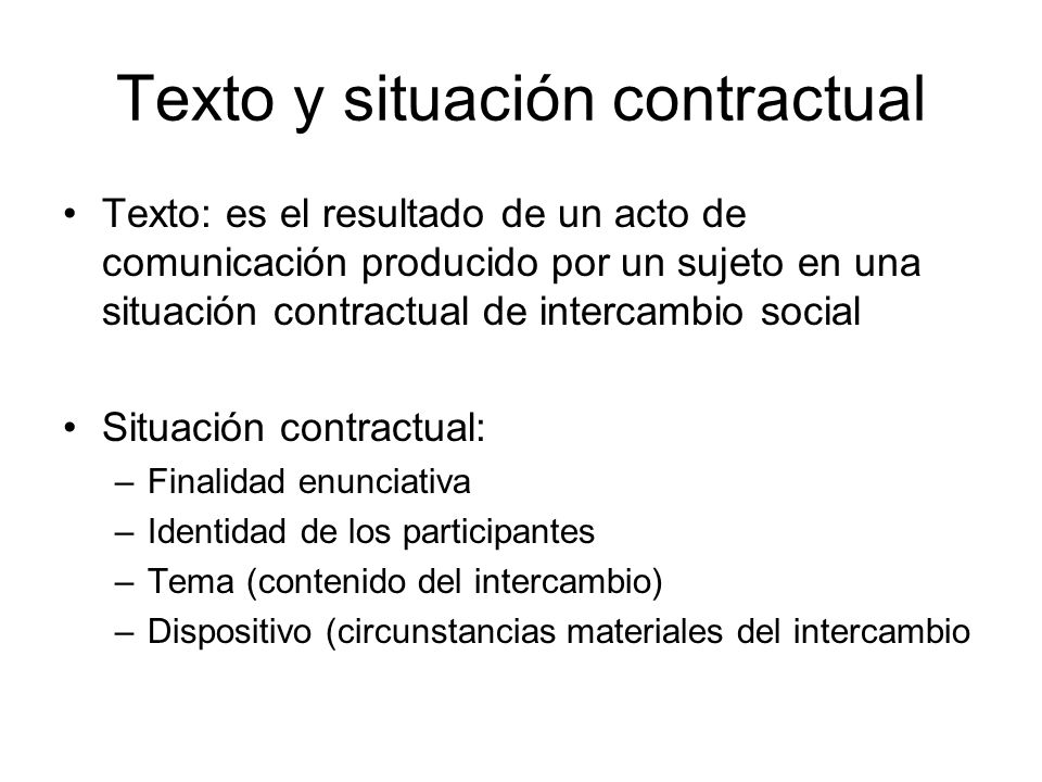 Texto y situación contractual